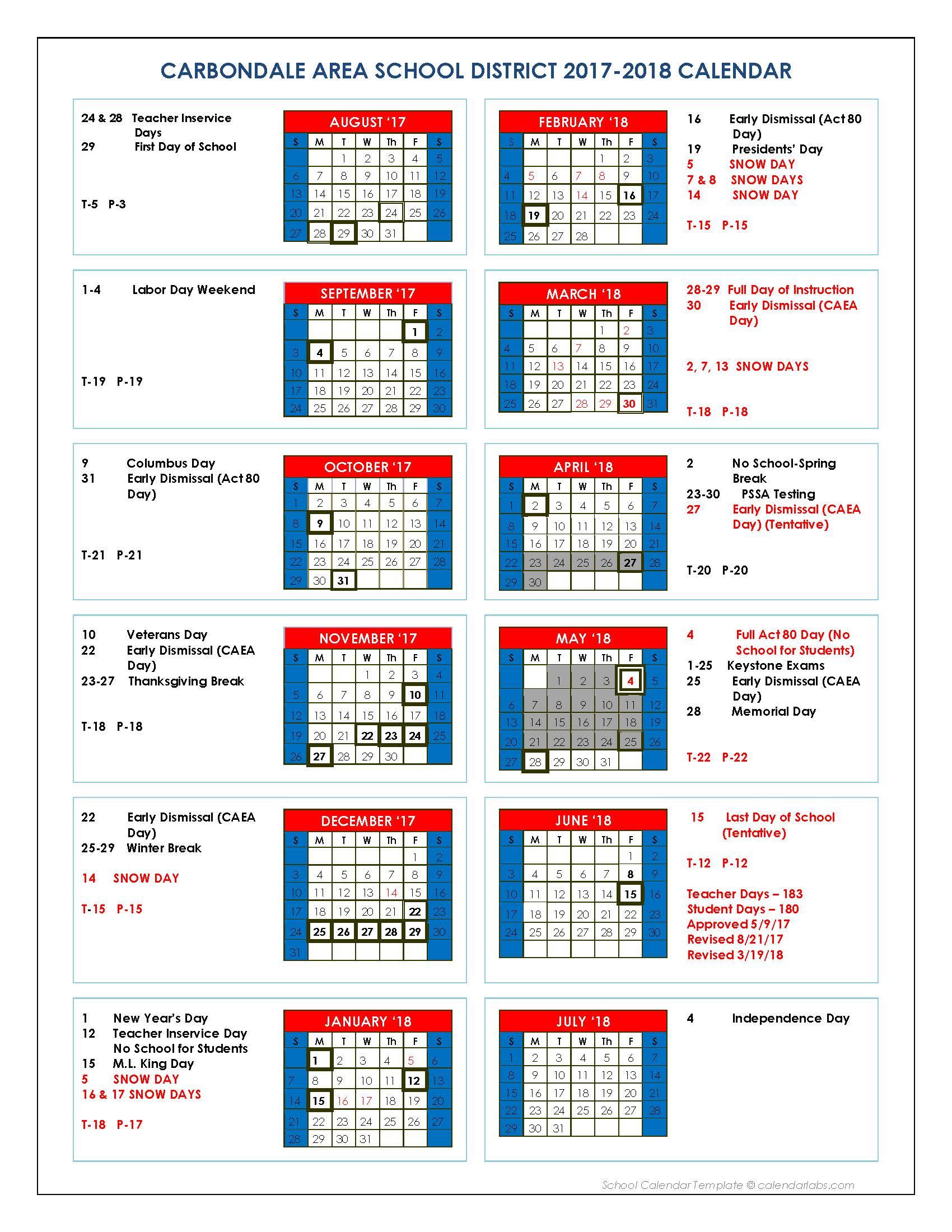 District Calendar Revised